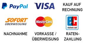 Visa / Mastercard, PayPal, SOFORT Überweisung, Lastschrift, Vorkasse / Überweisung, Rechnung, Nachnahme, Ratenzahlung
